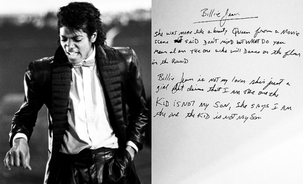 Billie Jean handwritten lyrics