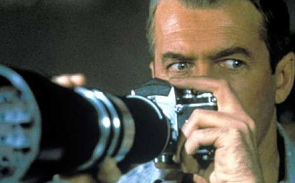 Rear Window-Jimmy Stewart, long lens