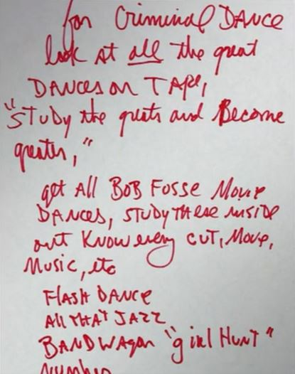 MJ handwritten note to study the greats